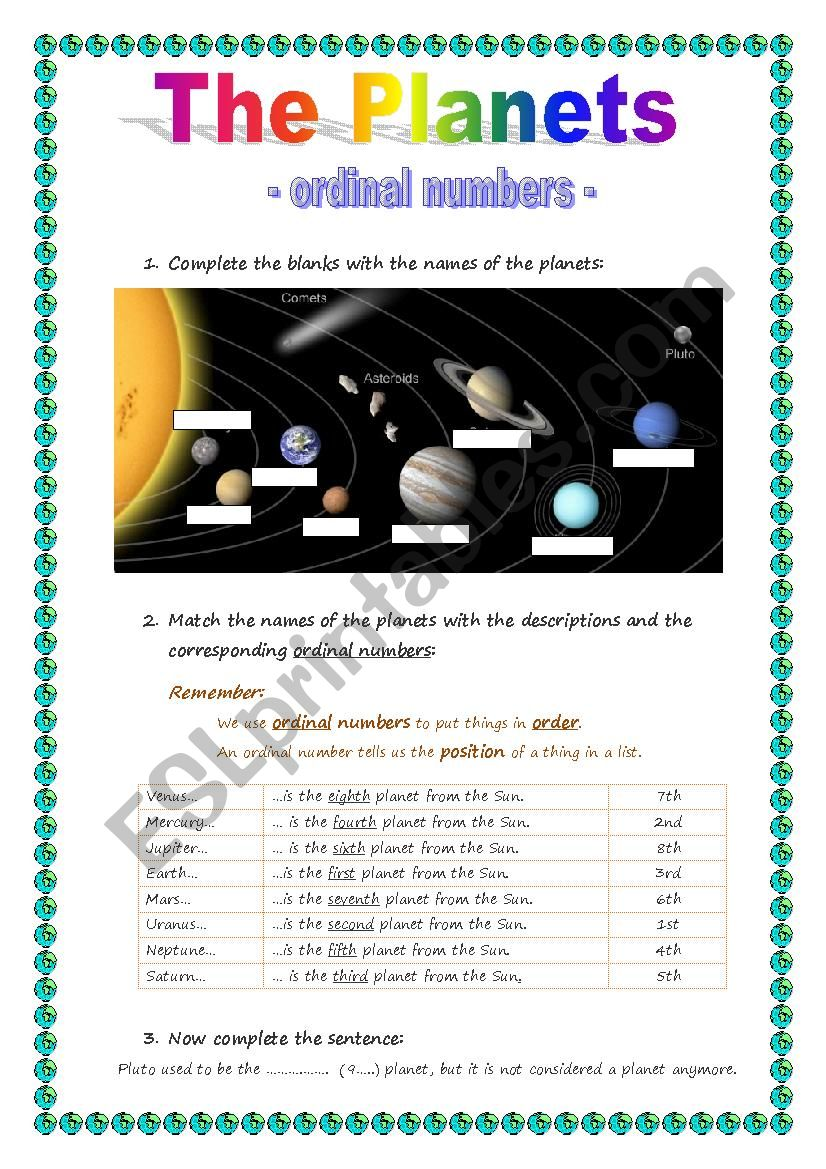 The Planets - ordinal numbers worksheet