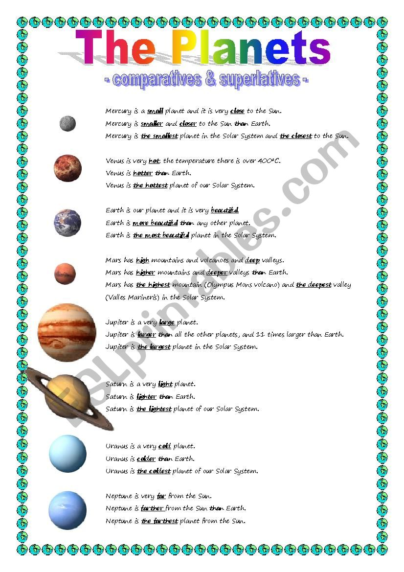 The Planets - comparative & superlative