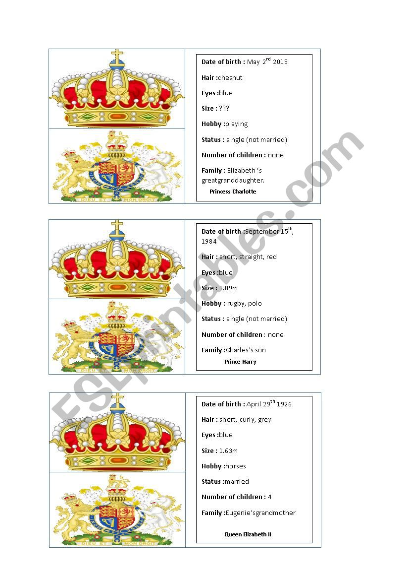 Royal family game cards part 2