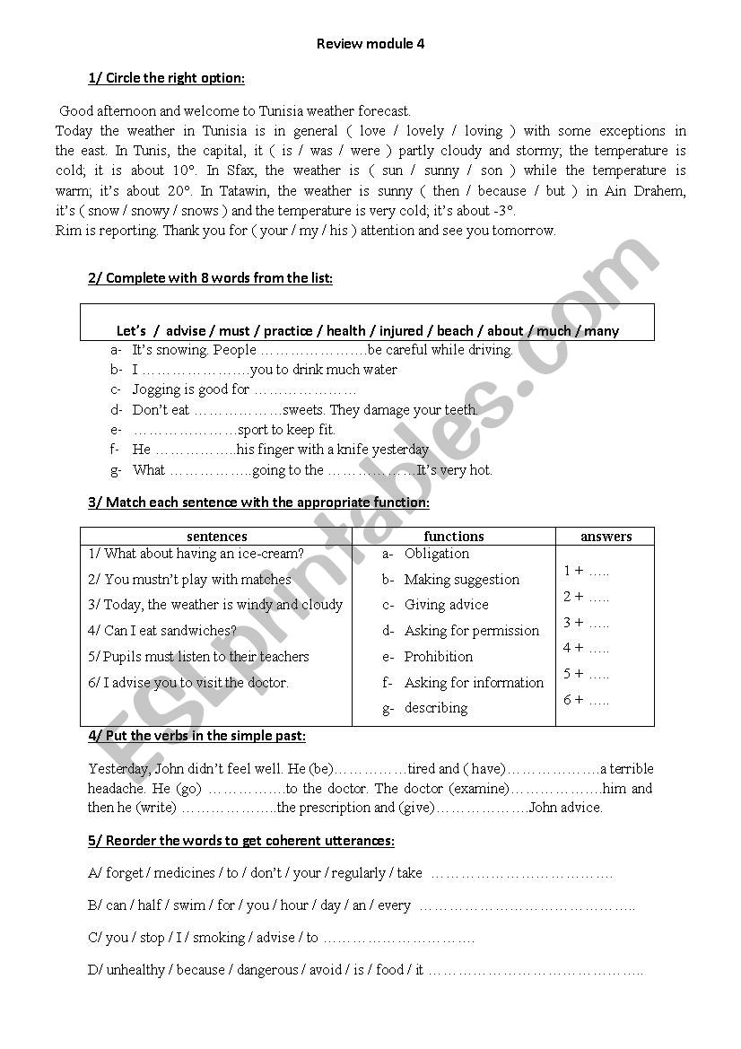 review module 4 worksheet