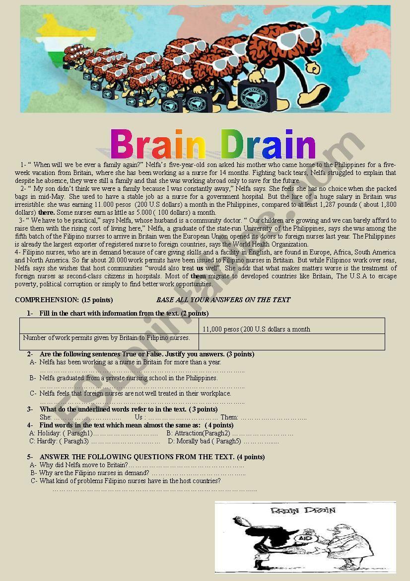 Brain Drain Reading Comprehension