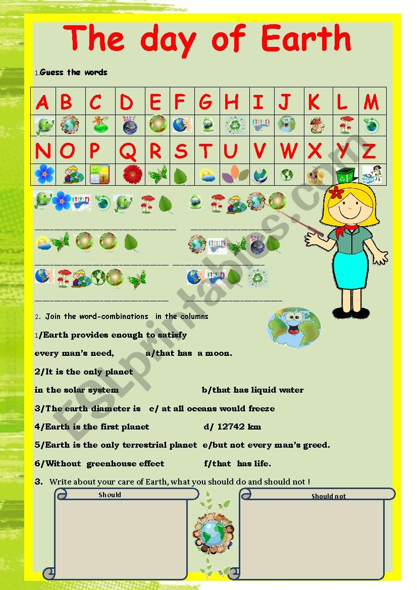 Cryptogram.The Earth Day. worksheet