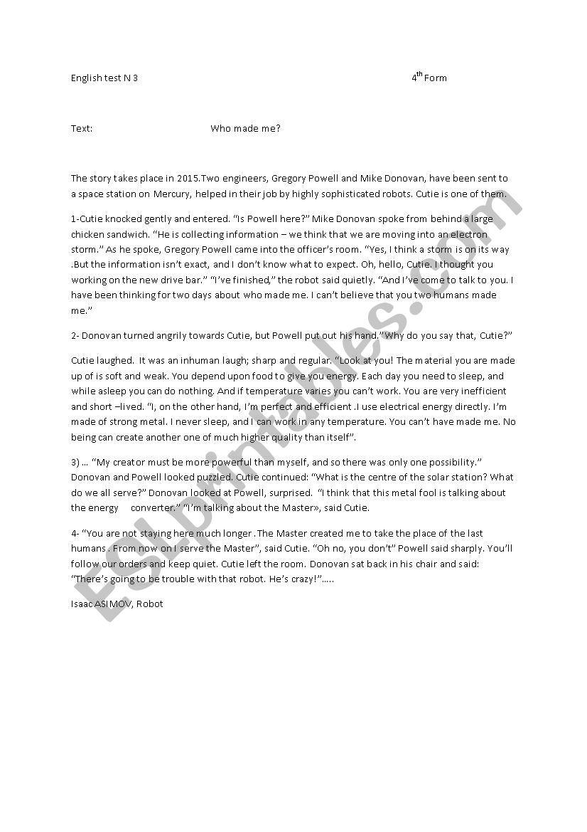 Enlish Test N3 worksheet