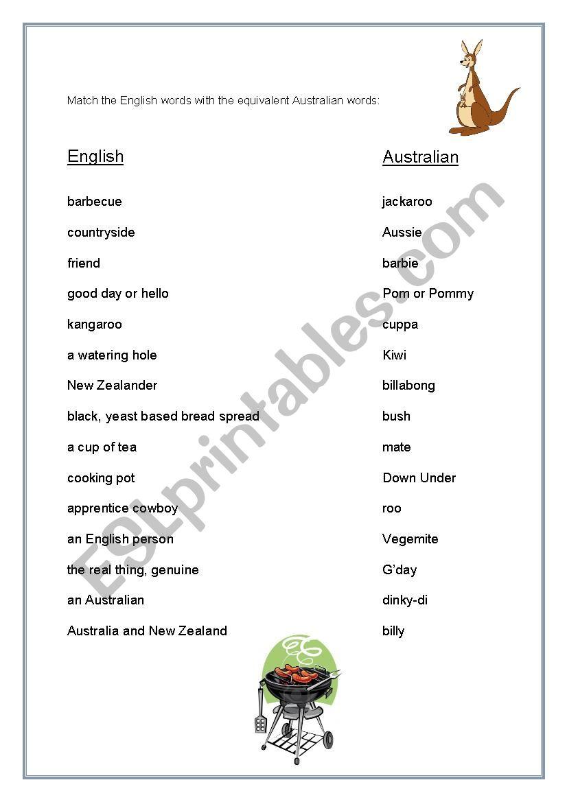 Australian V English Words Esl Worksheet By Nellie73