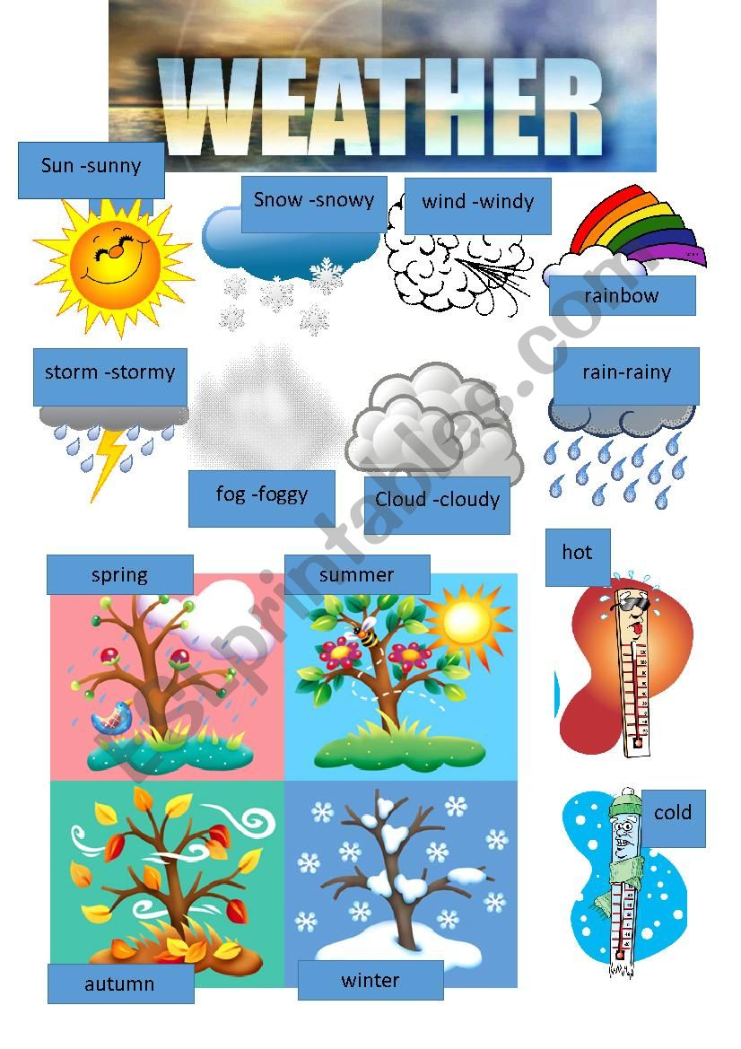 Weather Clipart Esl Worksheet By Majcek