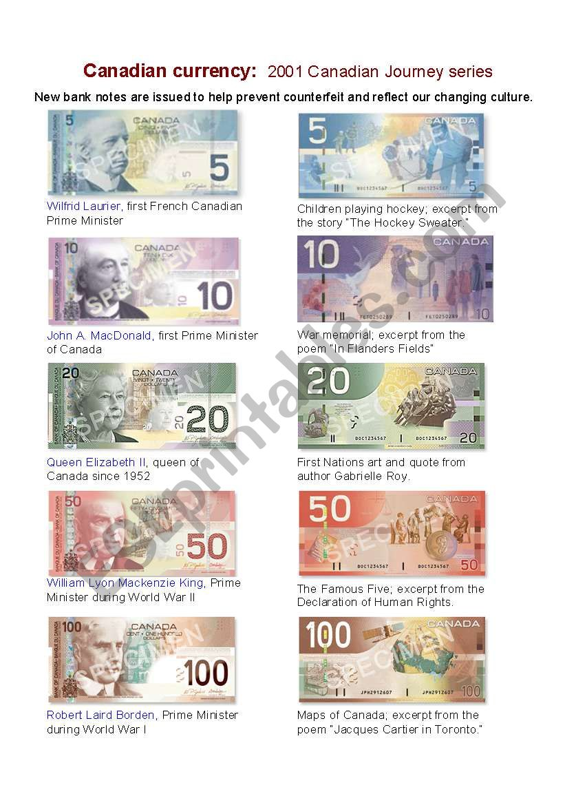 Canadian Bank Notes worksheet