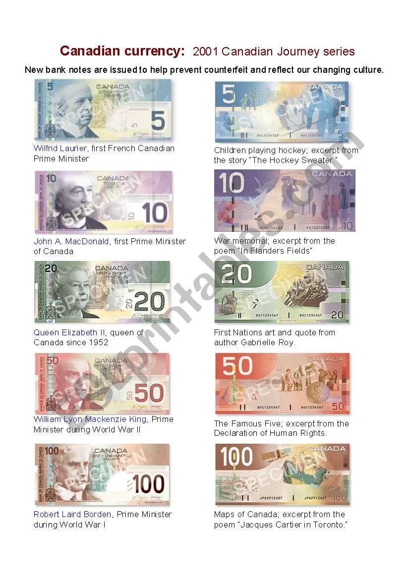 canadian bank notes esl worksheet by janetles. Black Bedroom Furniture Sets. Home Design Ideas