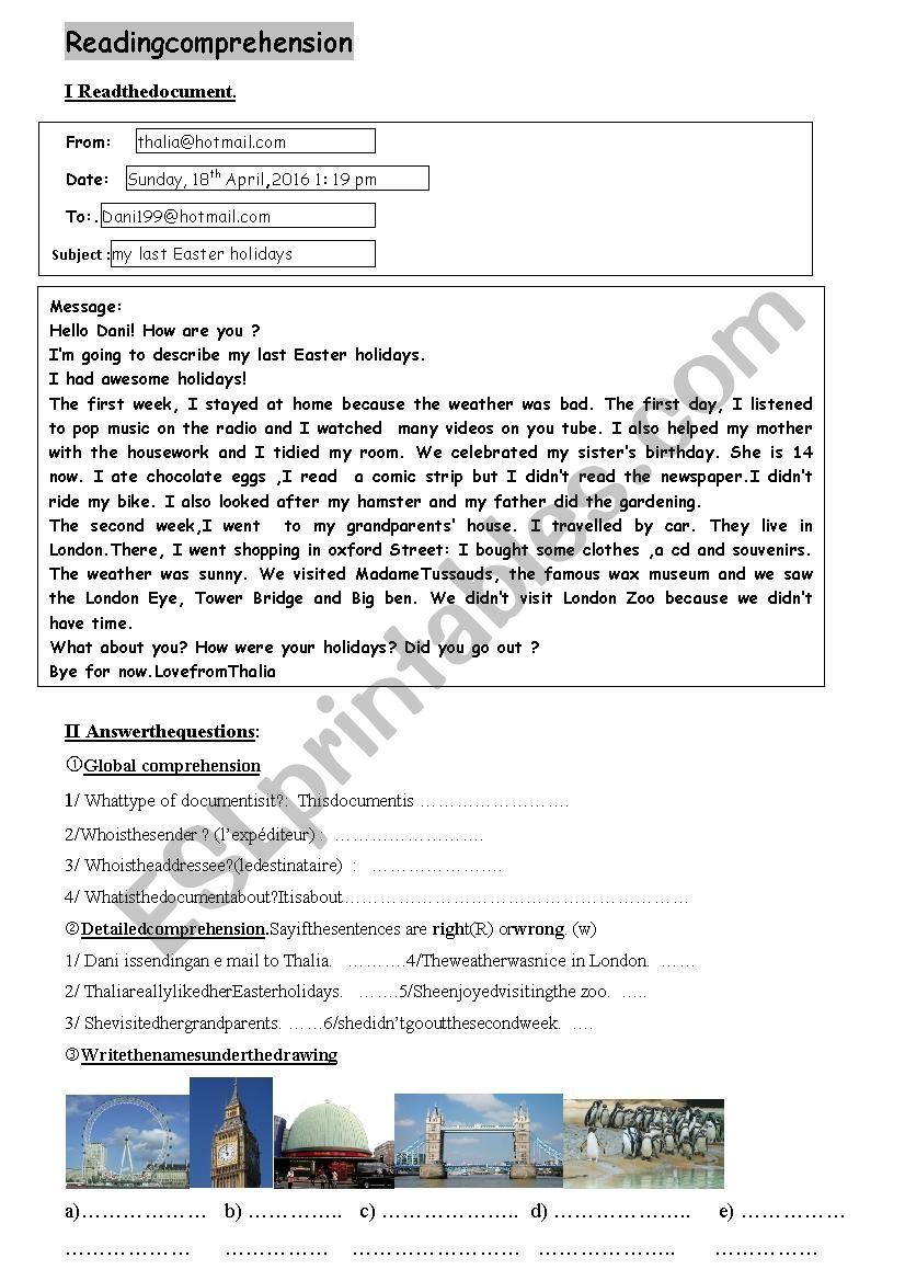 e mail last holidays worksheet