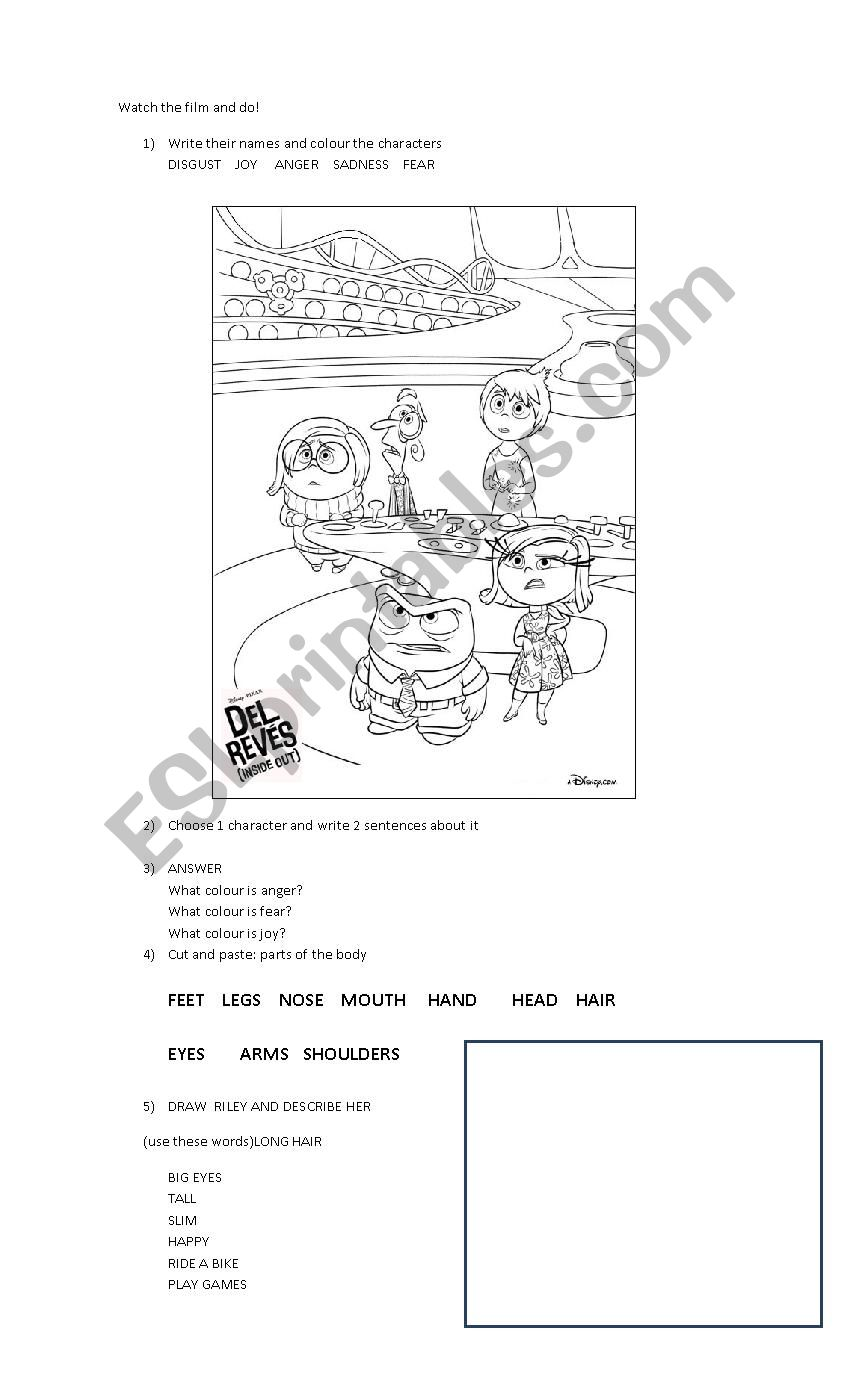 Inside Out Esl Worksheet By Moramoran