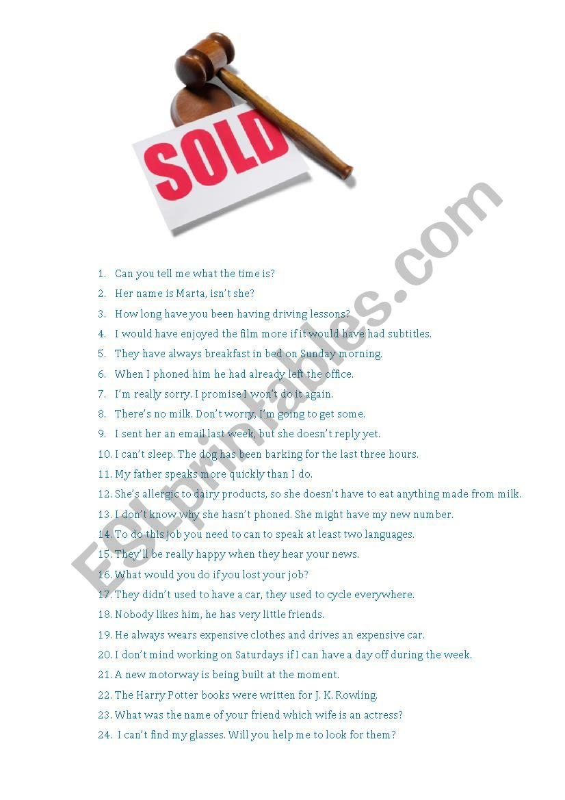 Grammar Auction worksheet