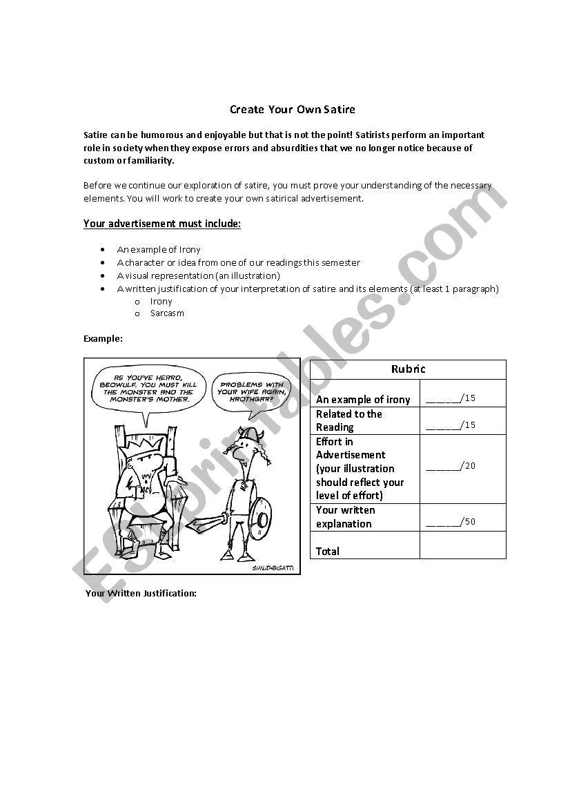 Create Your Own Satire Advertisement Esl Worksheet By Aptabb
