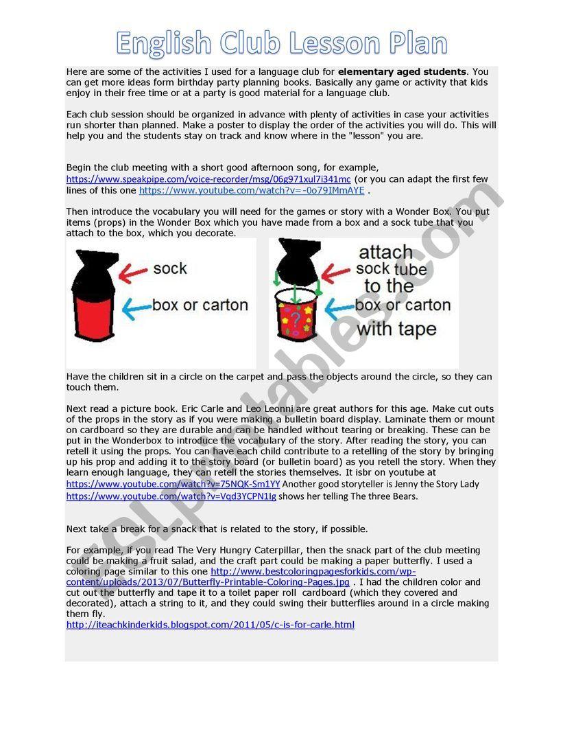 English Club Ideas worksheet