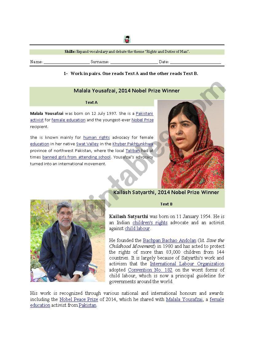Malala biography worksheet