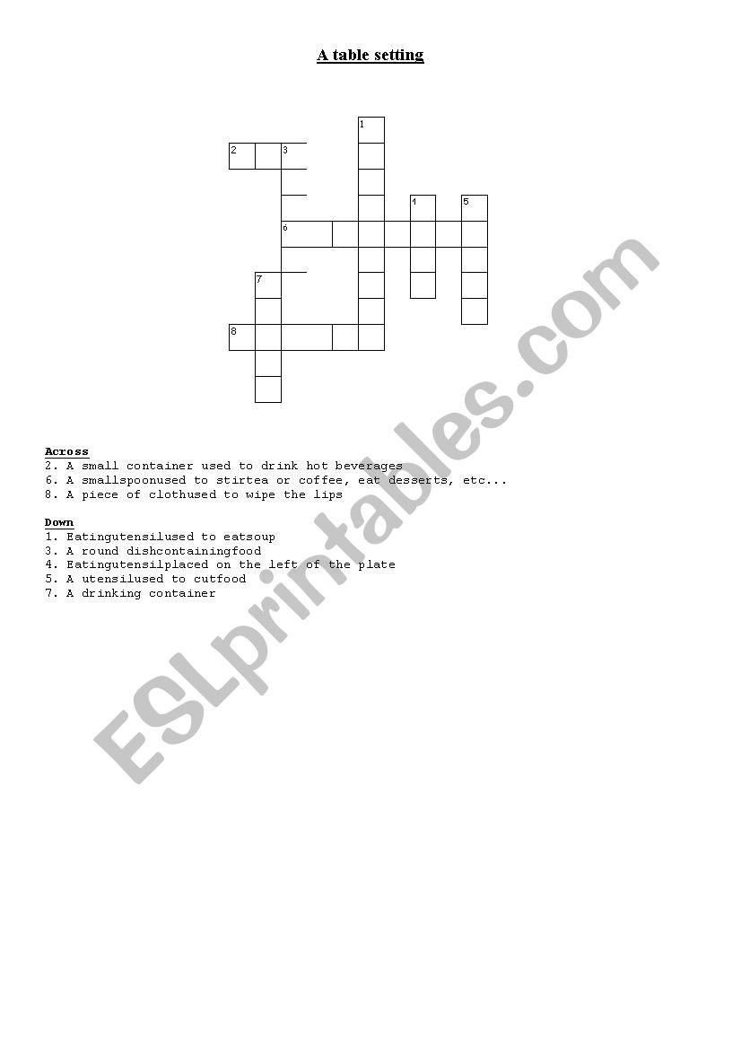 Table setting worksheet