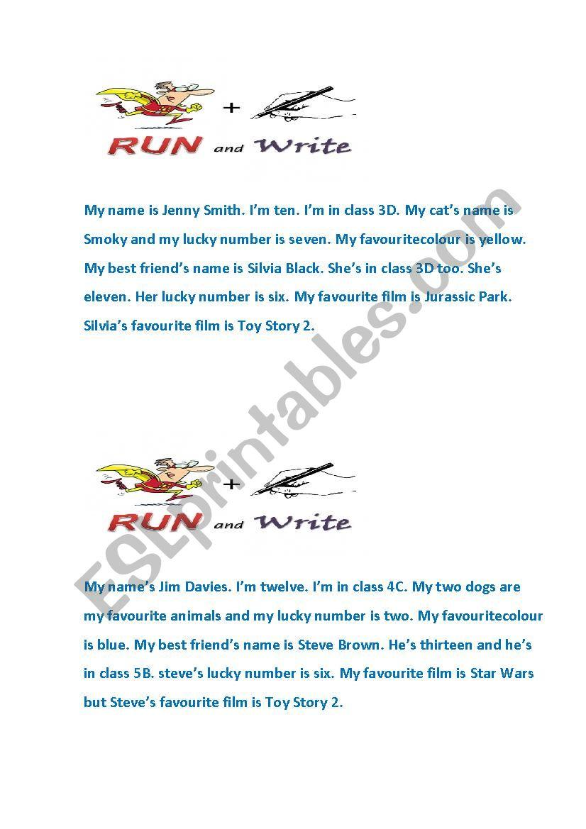 running dictation worksheet