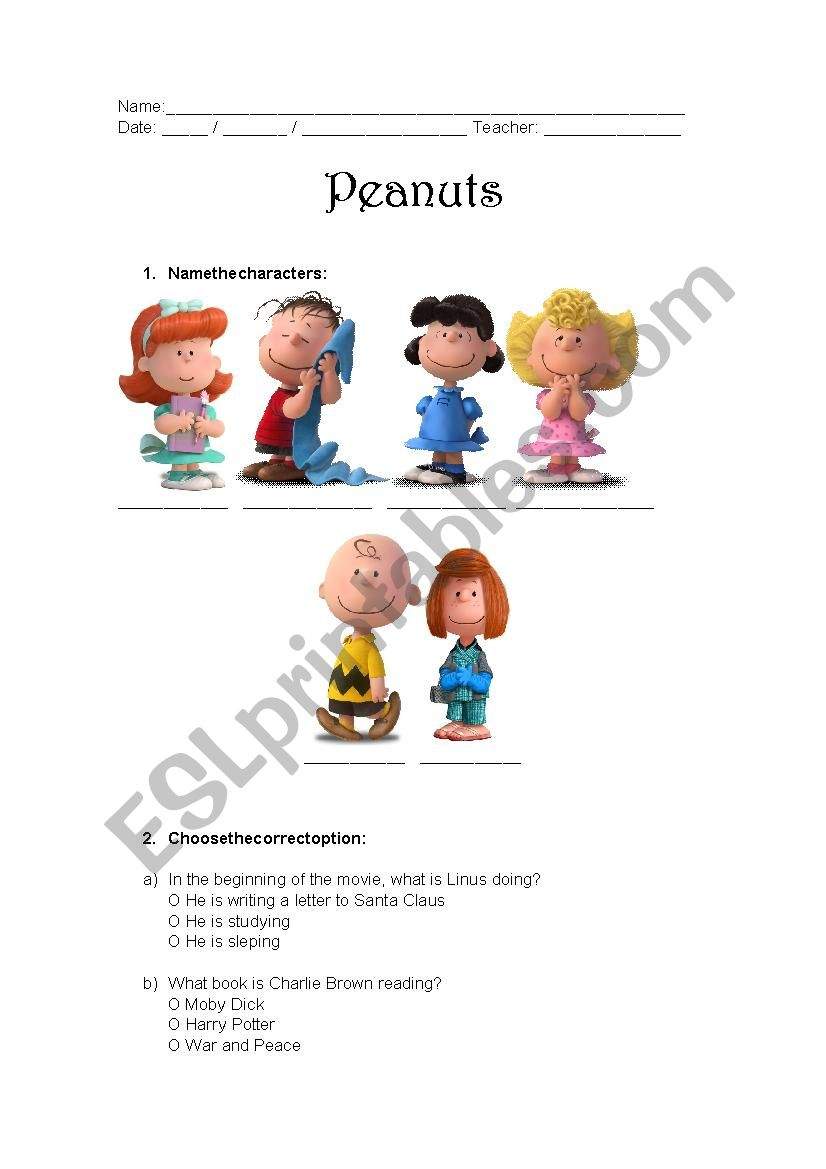 Peanuts Movie Worksheet - Charlie Brown