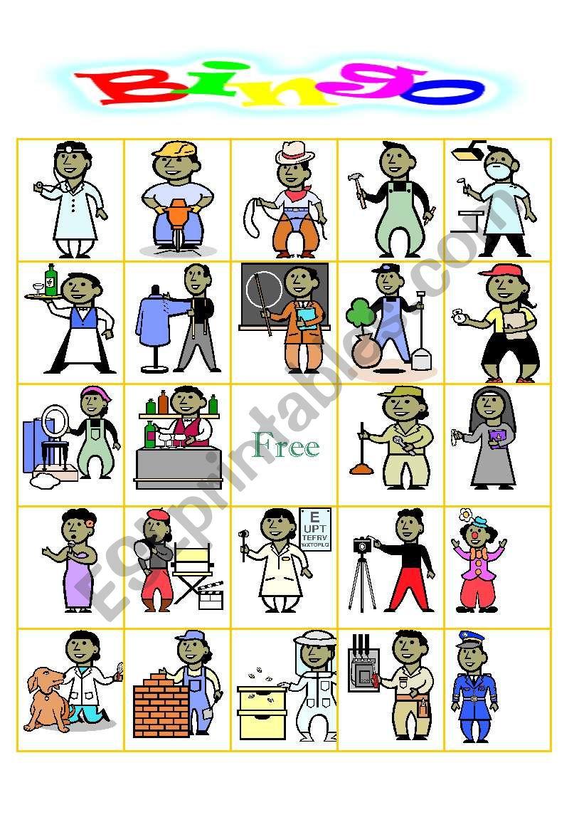 OCCUPATION BINGO worksheet