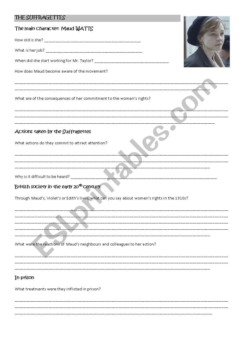 The Suffragettes film worksheet