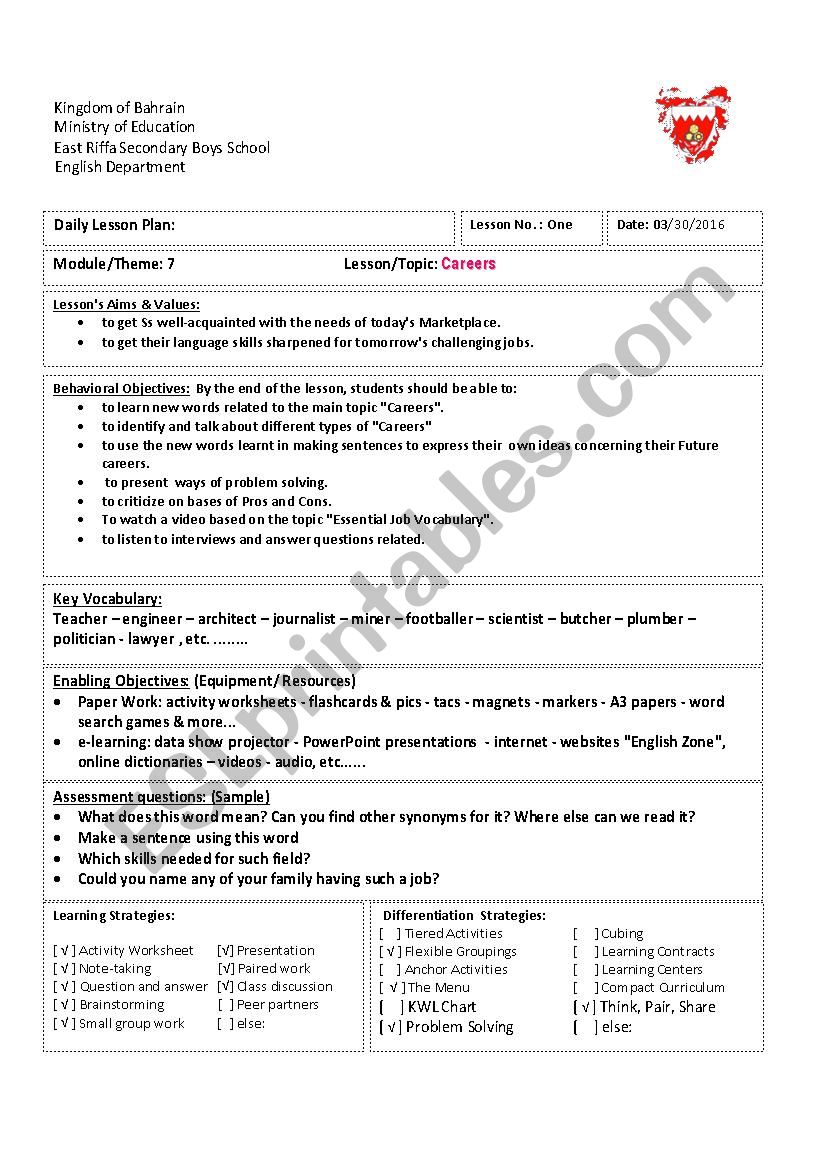 Careers Esl Worksheet By Midoforever