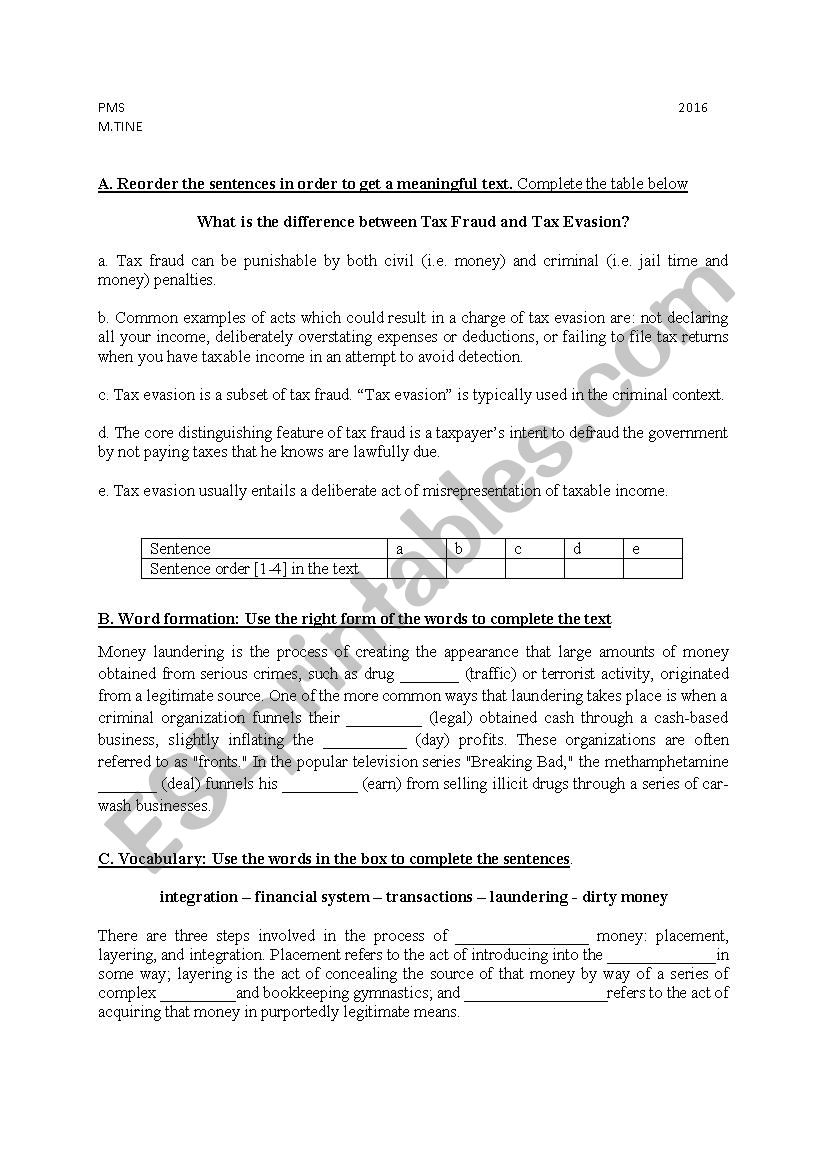 tax fraud worksheet