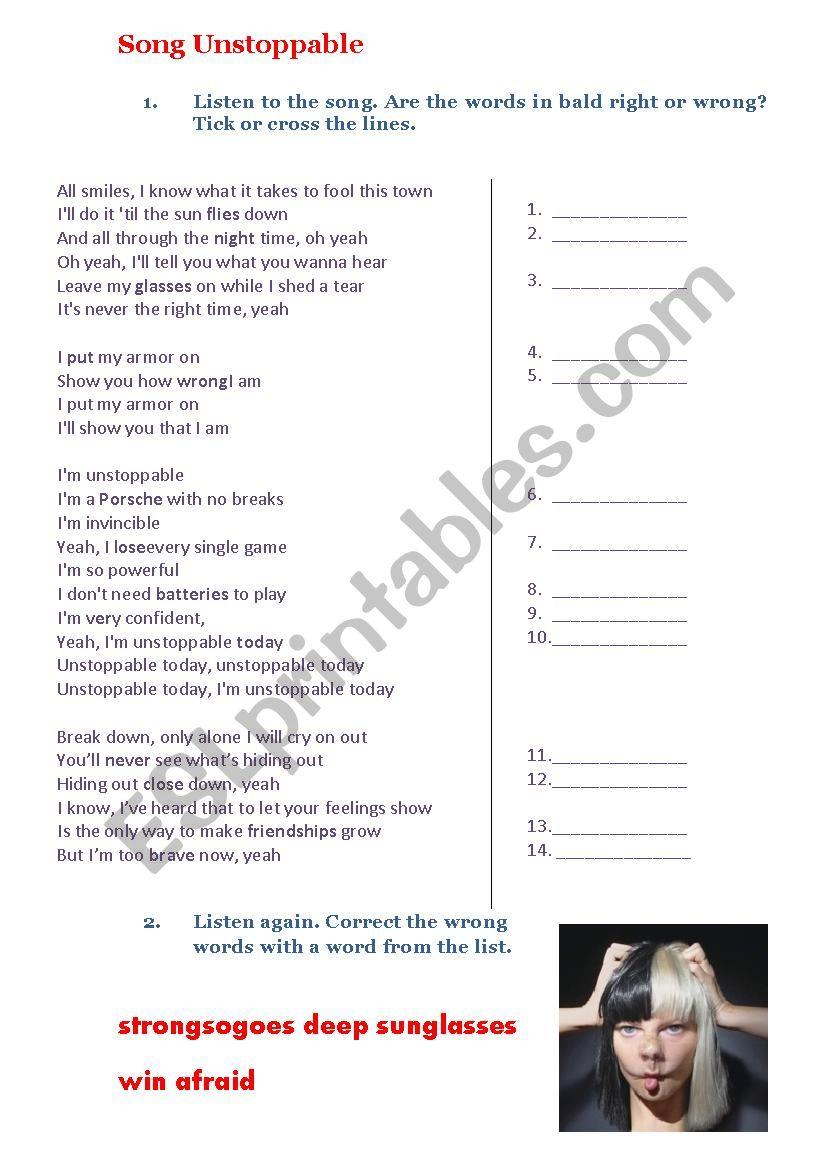 Sia Unstoppable - ESL worksheet by Kseniya2012