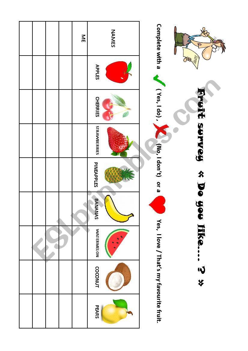 fruit survey worksheet