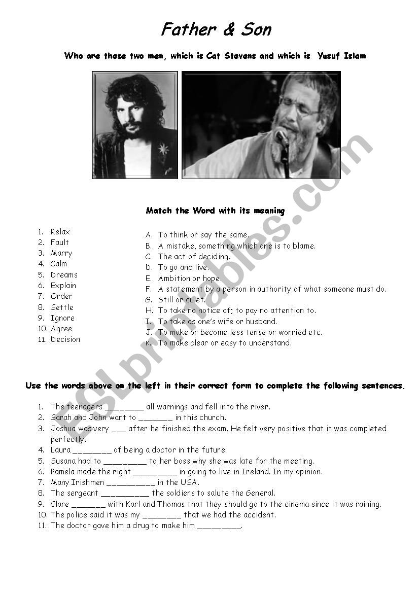 Father and Son   Cat Stevens worksheet