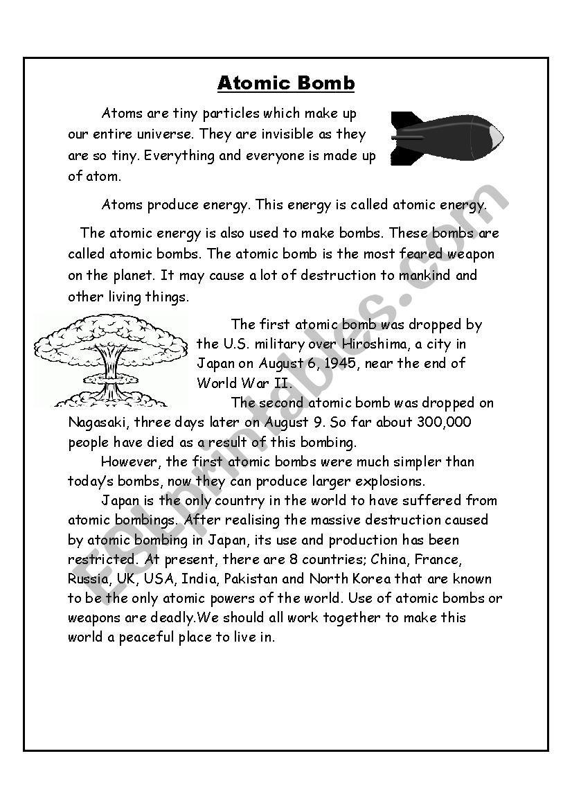 Atomic bomb - ESL worksheet by YousraASR