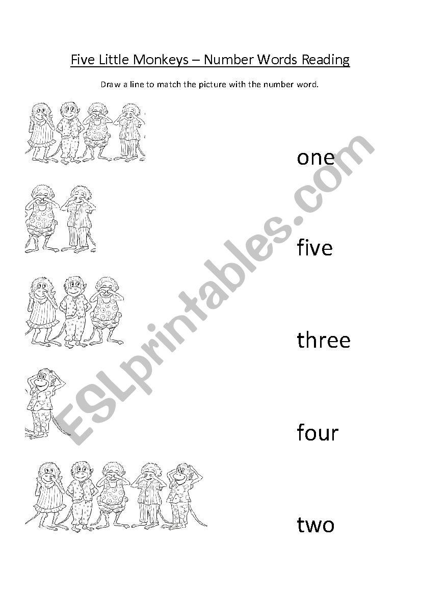 Five Little Monkeys Song Worksheet Number Words Reading