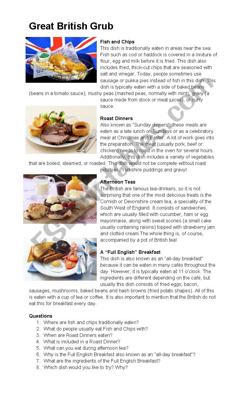 Typical British Food (Text + Questions)