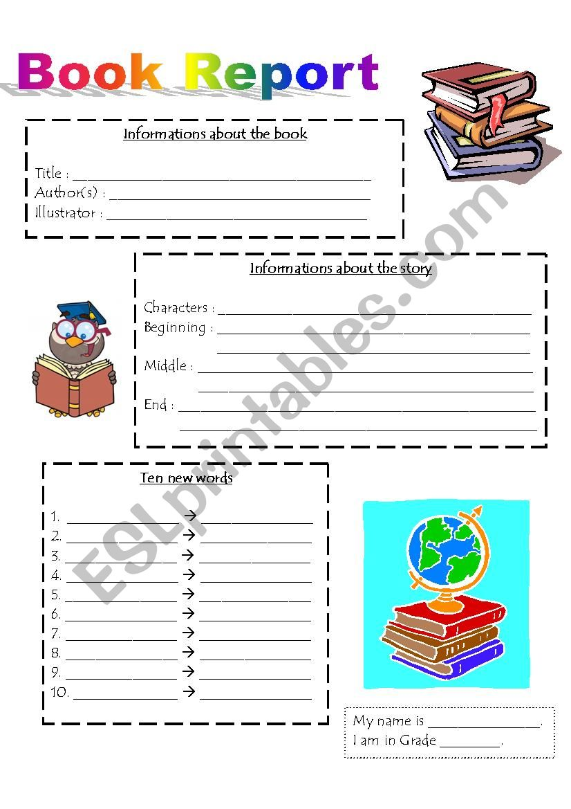 Book Report Esl Worksheet By Audreyjourdain