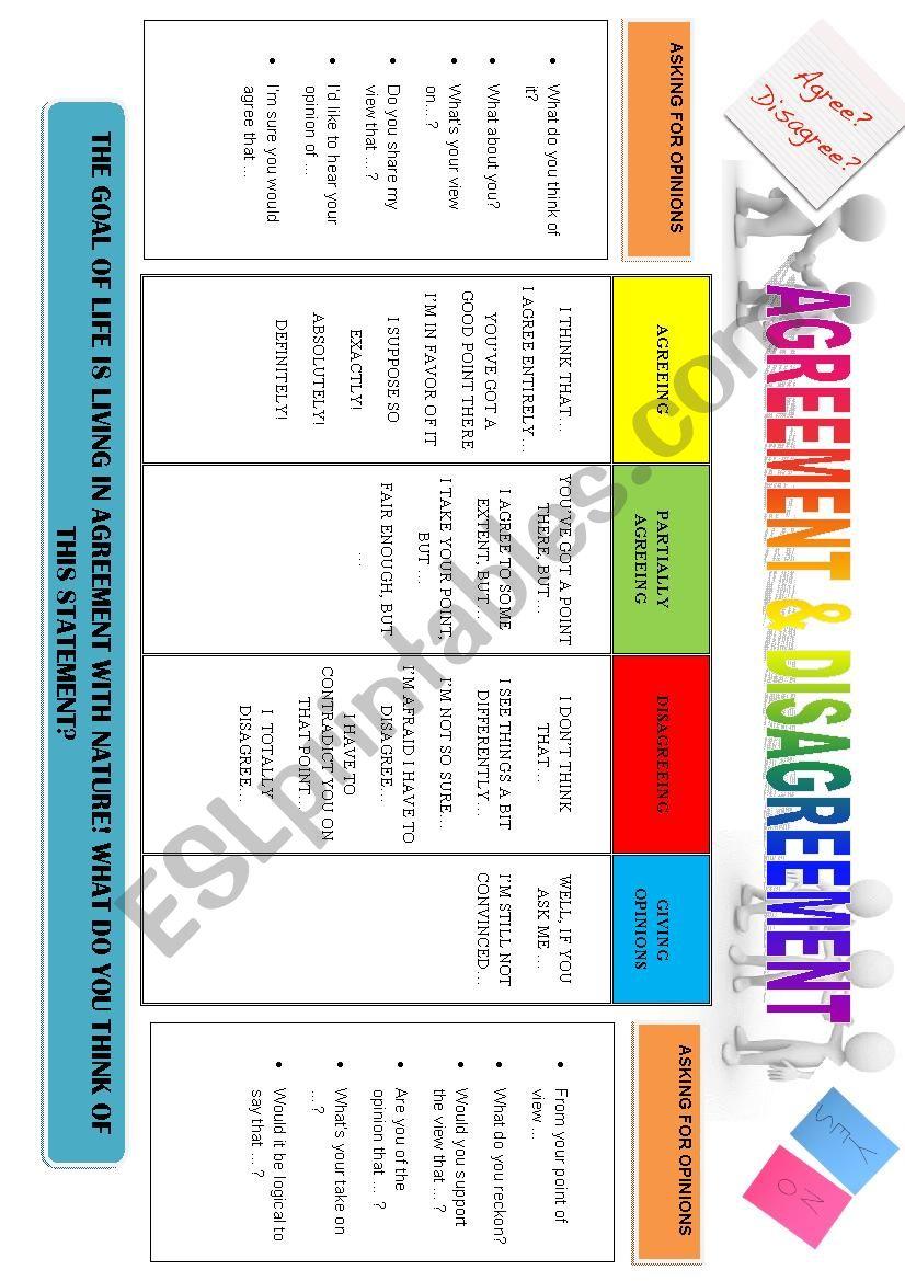 AGREEMENT AND DISAGREEMENT worksheet