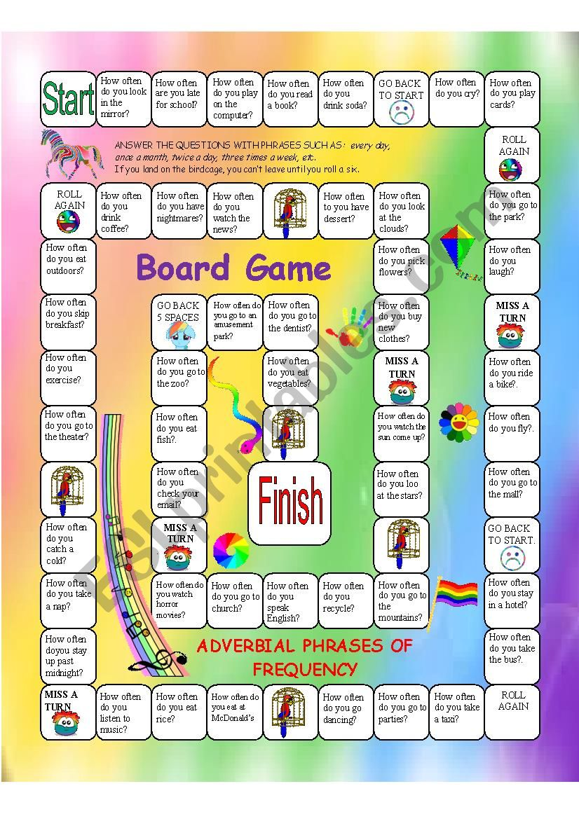 Adverbial Phrases of Frequency Board Game