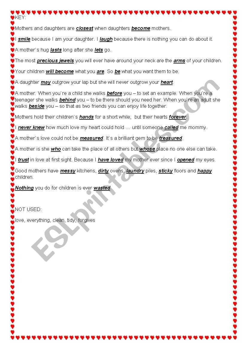 Mother`s Day Quotations Worksheet - ESL worksheet by edemianova