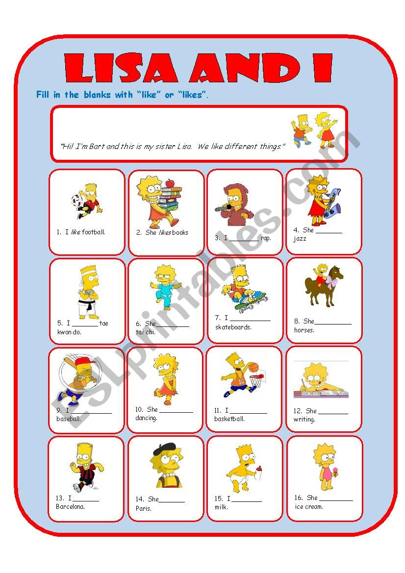 Like Likes with the Simpsons worksheet