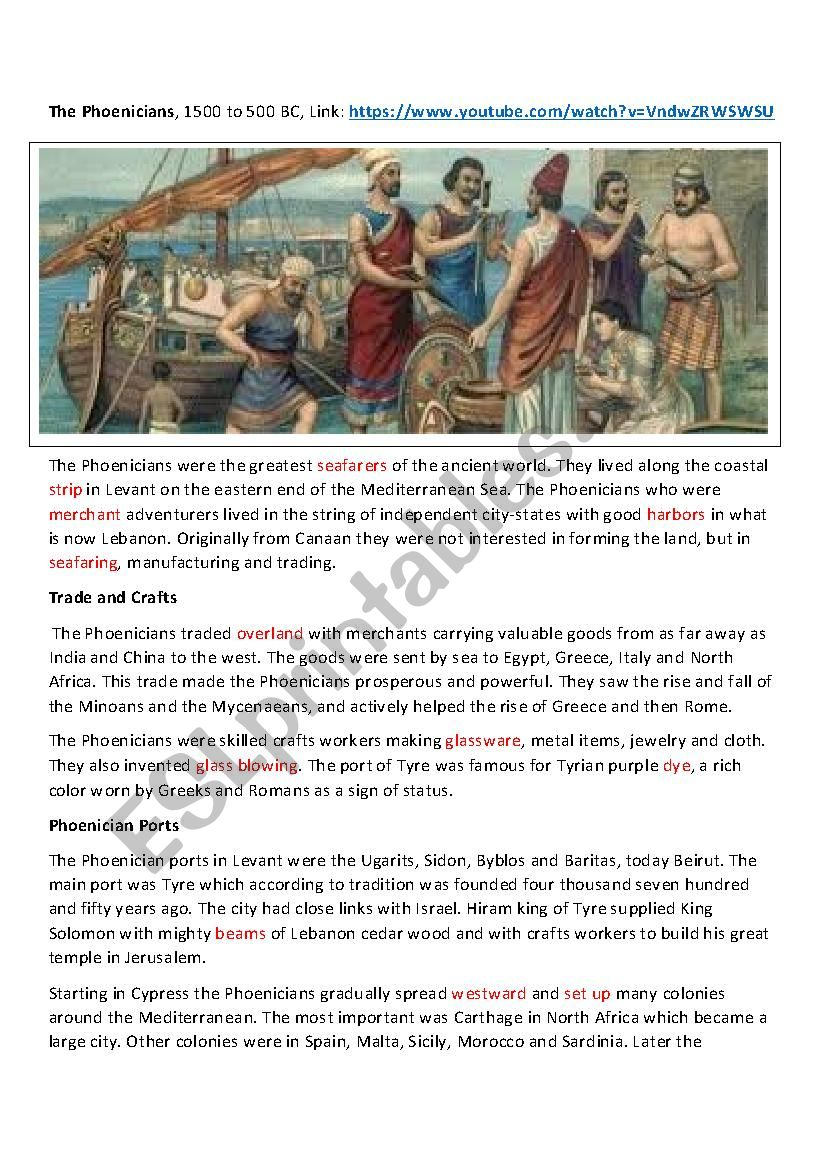 The Phoenicians worksheet