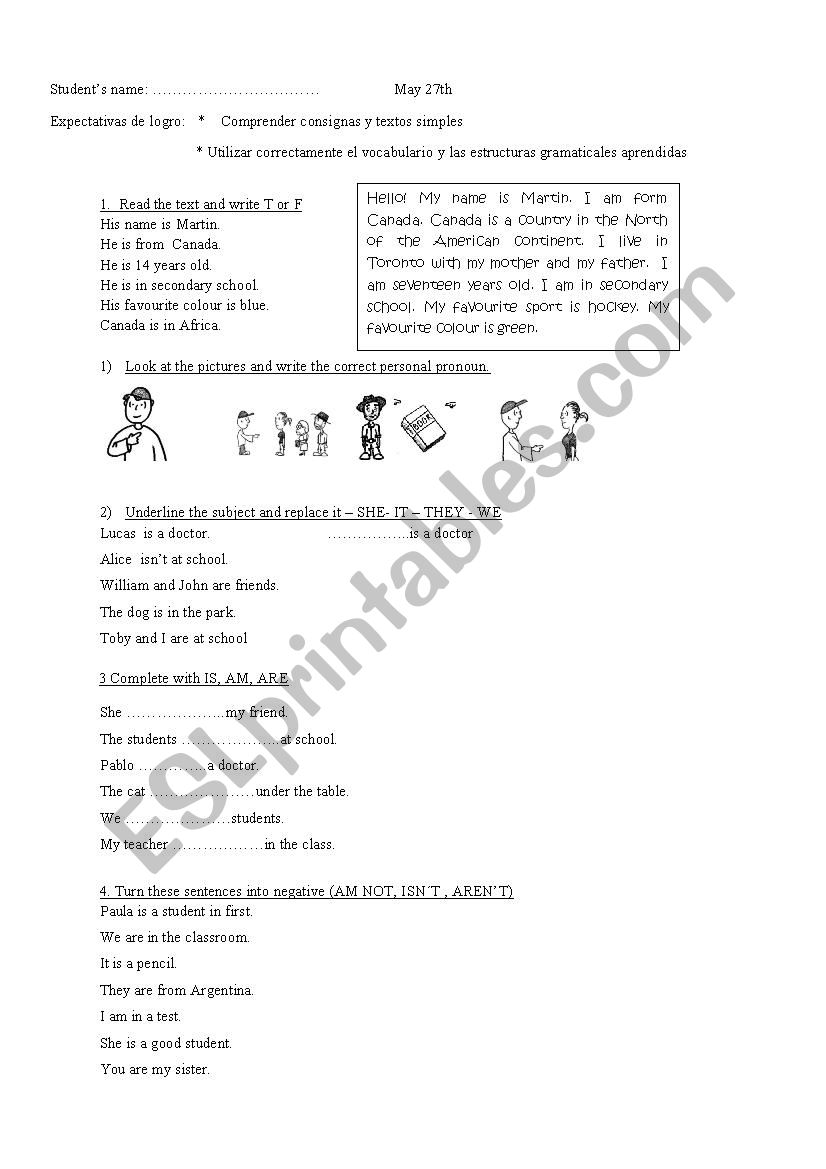 Verb To Be And Personal Pronouns Esl Worksheet By Frutillita