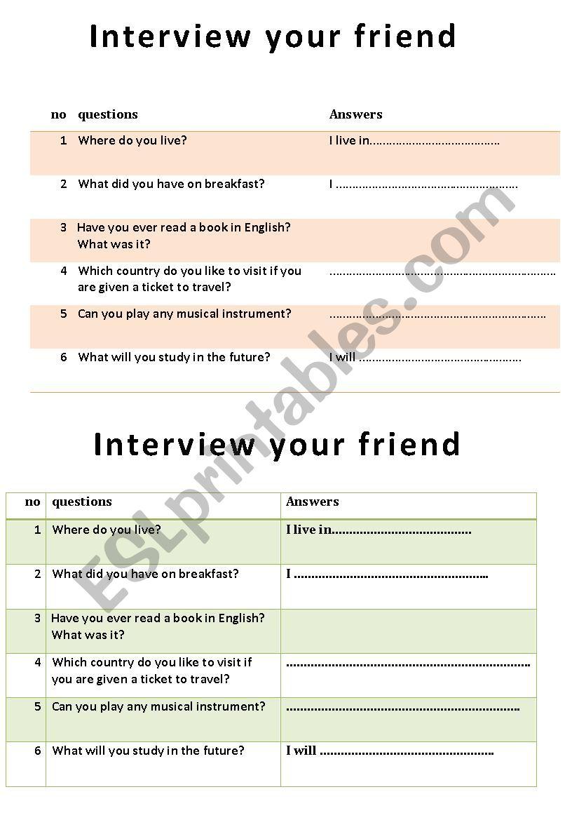 interview your friend worksheet