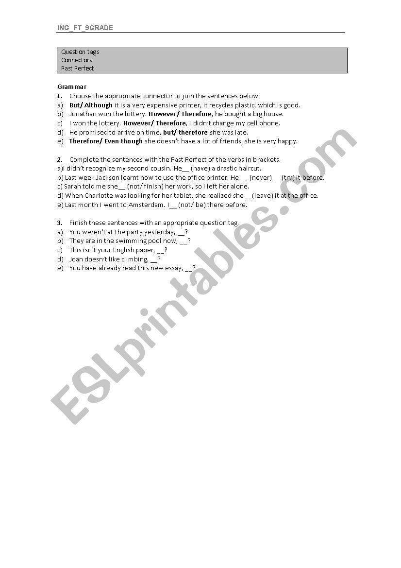 Grammar - 9th grade revision worksheet
