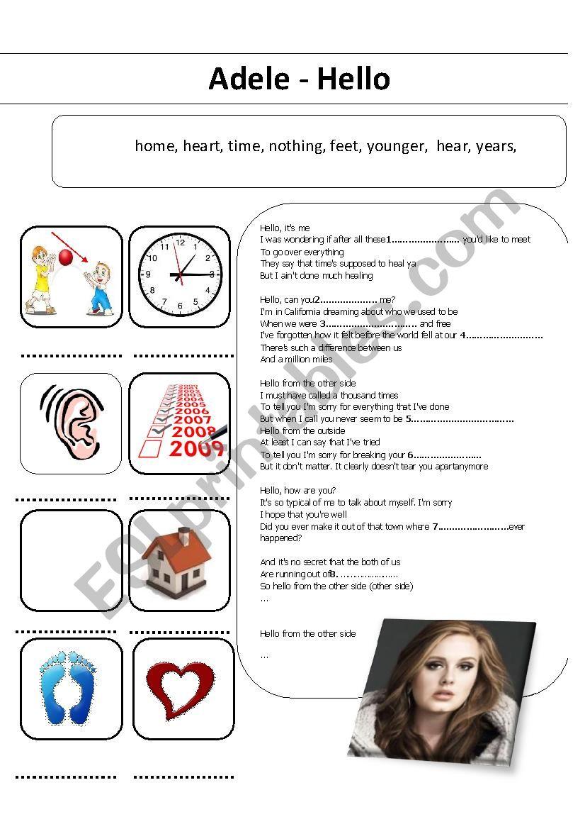 Adele - Hello worksheet