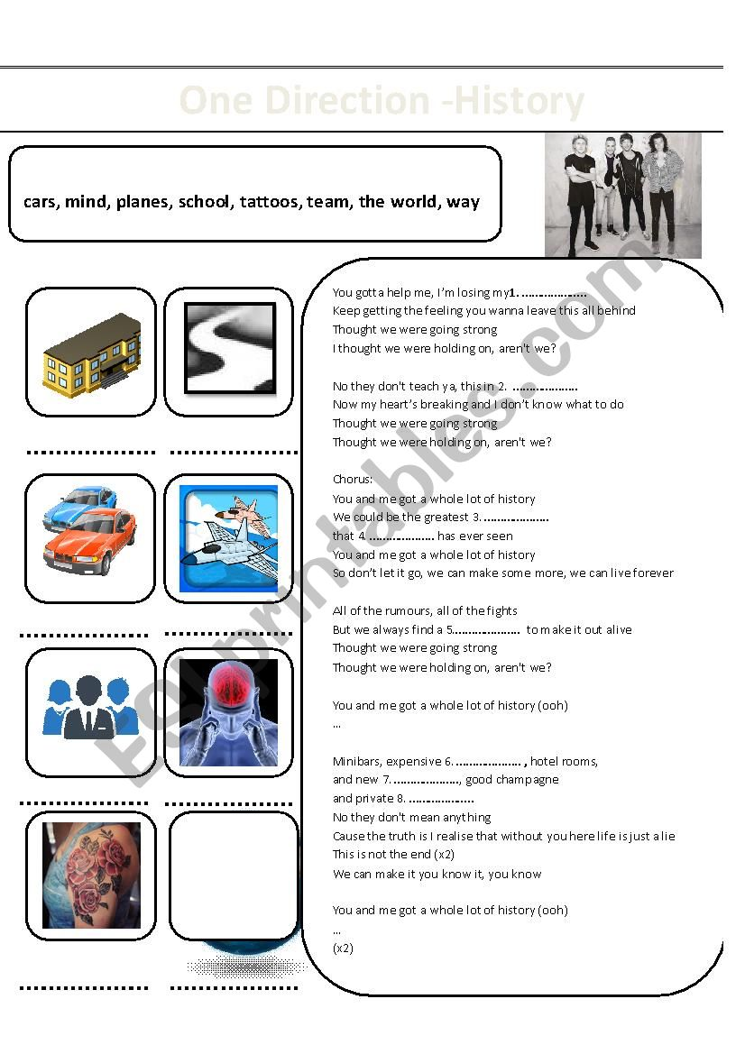 One Direction - History - ESL worksheet by weronka1991