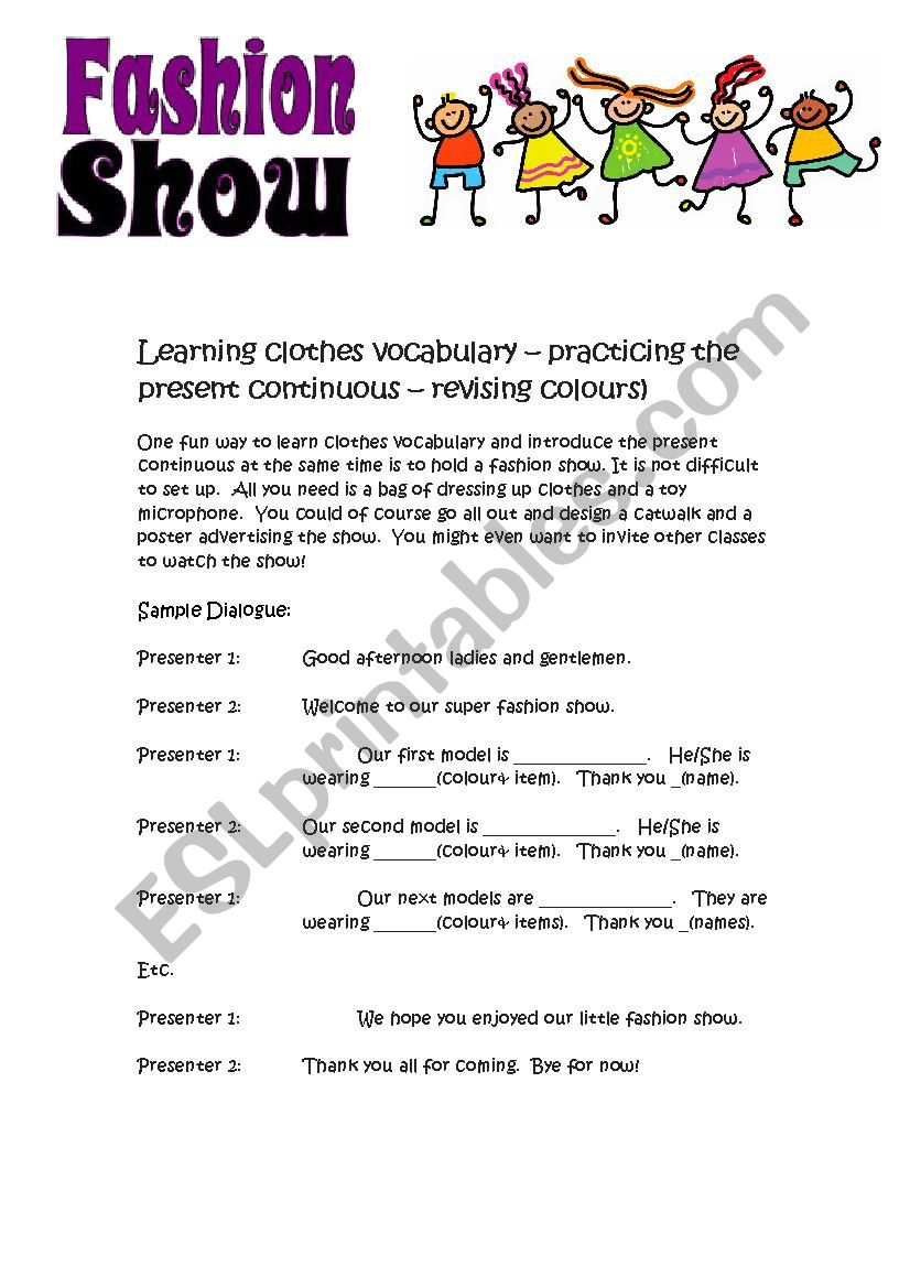 Fashion Show - role play worksheet