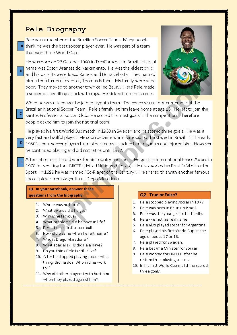 Pele Biography worksheet