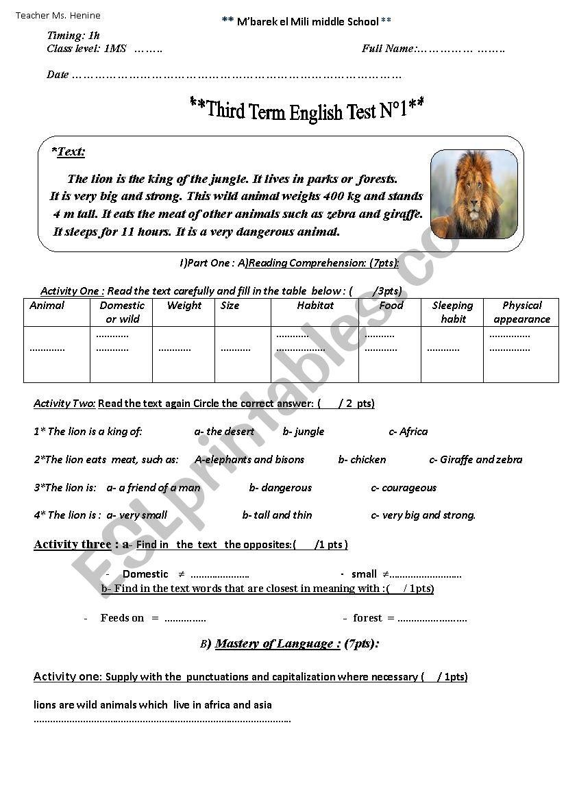 1MS 1 THIRD TERM TEST 2  worksheet