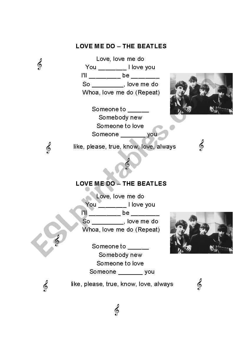 LOVE ME DO - SONG worksheet