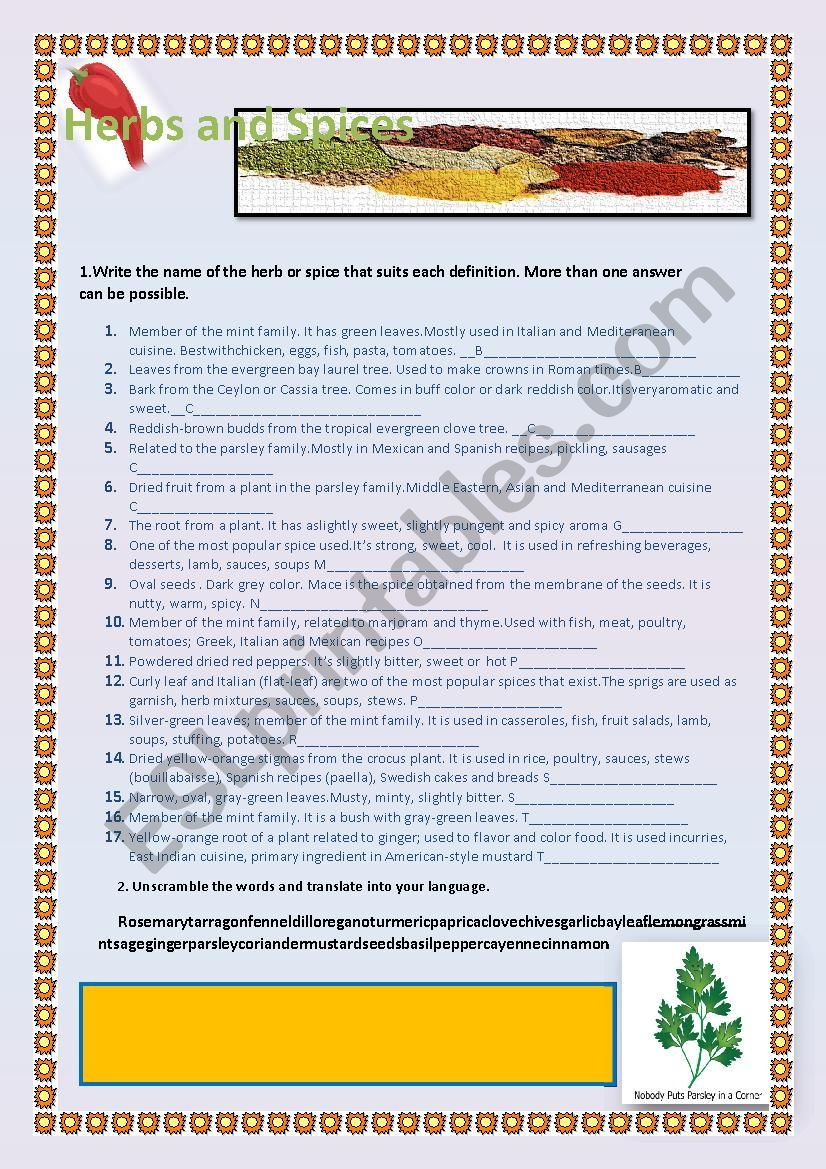Herbs and Spices2 worksheet