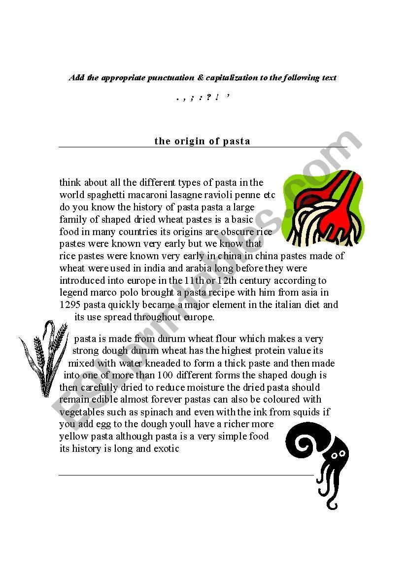 The Origin of Pasta- Punctuation & Capitalization (Error Correction)
