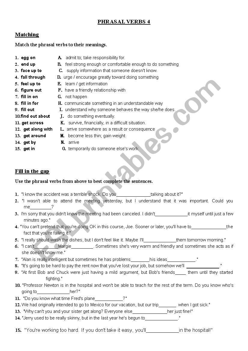 Phrasal Verbs (4/10) worksheet
