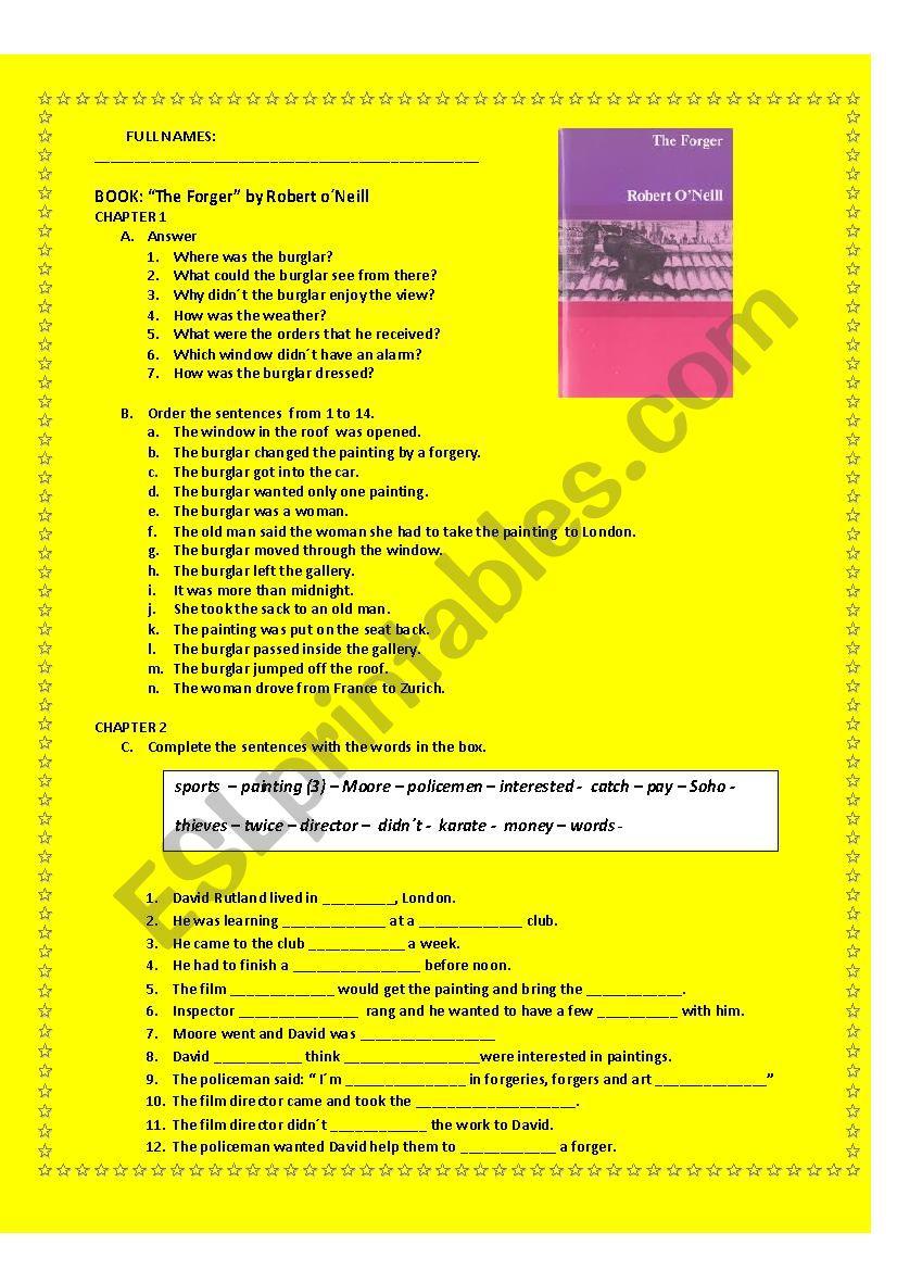 READING COMPREHENSION: book  worksheet