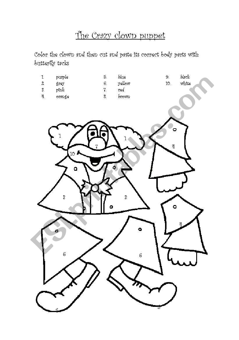 worksheet Puppet Worksheet english worksheets the crazy clown puppet worksheet